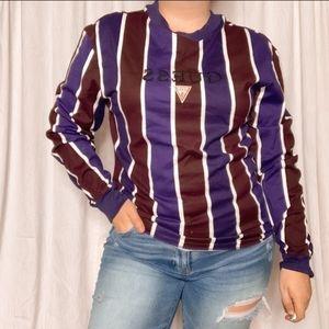 VINTAGE GUESS purple striped long sleeve tee